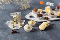 Handmade czekoladowi serowi cukierki, biel, czekolada i różni rodzaje ser na talerzu, ciemna i dojna Deserowy wroga smakosz zdjęcia royalty free