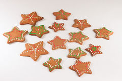 Handmade decorated ginger cookies. On the white background Royalty Free Stock Photos
