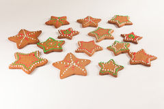 Handmade decorated ginger cookies. On the white background Stock Photo
