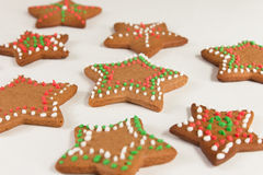 Handmade decorated ginger cookies. On the white background Royalty Free Stock Images