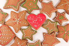 Handmade decorated ginger cookies. On the white background Stock Image