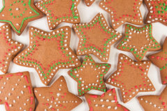 Handmade decorated ginger cookies. On the white background Stock Photography