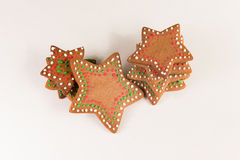 Handmade decorated ginger cookies. On the white background Stock Images