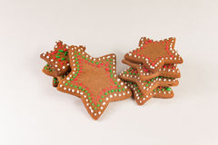 Handmade decorated ginger cookies. On the white background Royalty Free Stock Photo