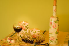 Handmade decorated objects and wine Stock Photography