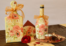 Handmade decoration with antique effects and decoupage Stock Images