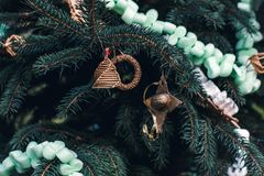 Handmade decoration on a Christmas tree. Diy ideas royalty free stock photos