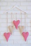 Handmade decoration fabric hearts Royalty Free Stock Photo