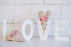 Handmade decoration fabric hearts Royalty Free Stock Image
