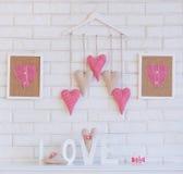 Handmade decoration fabric hearts Stock Photos