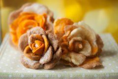 Handmade decoration rose matted wool Stock Photography