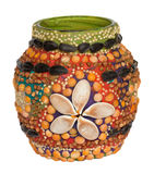 Handmade decoration of vase. Vase decorated by children with plasticine and seeds Royalty Free Stock Photography