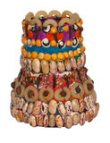 Handmade decoration of vase. Vase decorated by children with plasticine and seeds Royalty Free Stock Images