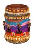 Handmade decoration of vase. Vase decorated by children with plasticine and seeds Stock Image