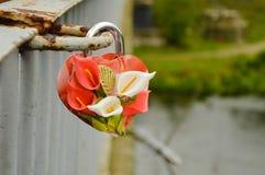 Handmade decoration of wedding lock Royalty Free Stock Photo