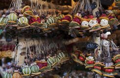 Handmade decorations for sale on street market in Budapest, Hungary stock photos