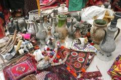 Handmade decorative carpets and jugs stock image