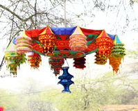 Handmade decorative hangings. In display in India handicraft fair Royalty Free Stock Image
