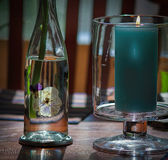 Handmade Decoupage--Pansies Mounted on Glass Bottle Stock Photo