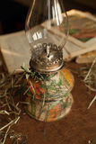 Handmade decupage oil lamp with vegetables print in vintage style. Royalty Free Stock Photography