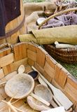 Handmade dishes and baskets stock photo