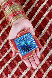 Handmade Diwali Diya Lamp in Hand Stock Photos