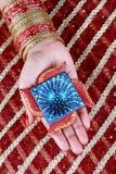 Handmade Diwali Diya Lamp in Hand stock photos