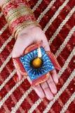 Handmade Diwali Diya Lamp in Hand Stock Image