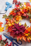 Handmade diy artifical autumn wreath decoration with leaves berr Royalty Free Stock Image