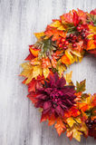 Handmade diy artifical autumn wreath decoration with leaves berr Stock Photos