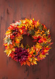 Handmade diy artifical autumn wreath decoration with leaves berr Stock Photo