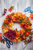 Handmade diy artifical autumn wreath decoration with leaves berr Stock Image