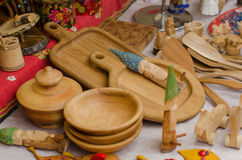 Handmade diy wooden kitchen utensil tools sold. Royalty Free Stock Photo