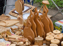Handmade diy wooden kitchen utensil tools sold. Royalty Free Stock Image