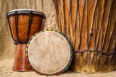 Handmade djembe drums Royalty Free Stock Images