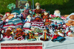Handmade doll. Exhibition-sale of souvenirs and handwork hand-made articles.Ukraine-Vinniza Royalty Free Stock Photo