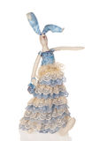 Handmade doll  in blue. Handmade doll rabbit dressed in a blue lace dress  holding  purse isolated on white.Designer toy Stock Image