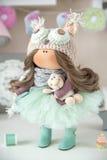 Handmade doll. Cute handmade chic interior dolls Royalty Free Stock Photos
