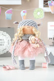 Handmade doll. Cute handmade chic interior dolls Stock Photo