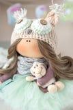 Handmade doll. Cute handmade chic interior dolls Stock Images