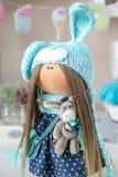 Handmade doll. Cute handmade chic interior dolls Royalty Free Stock Photography