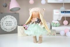 Handmade doll. Cute handmade chic interior dolls Stock Photos