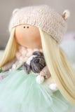 Handmade doll. Cute handmade chic interior dolls Royalty Free Stock Photo