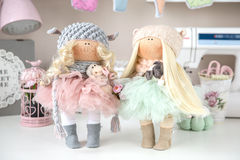 Handmade doll. Cute handmade chic interior dolls Royalty Free Stock Image