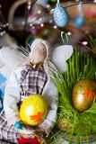Handmade doll in at Easter Royalty Free Stock Image