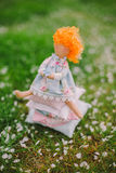 A handmade doll on the grass background Stock Photography