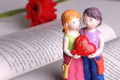 Handmade Doll - I love you. I give you my heart royalty free stock images