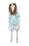 Handmade doll isolated in a pantsuit with two ponytails Royalty Free Stock Photos