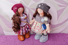 Handmade doll with natural hair Royalty Free Stock Images