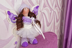 Handmade doll with natural hair Stock Image